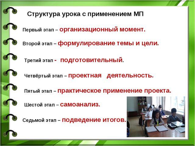Структура урока с применением МП Первый этап – организационный момент. Второй...