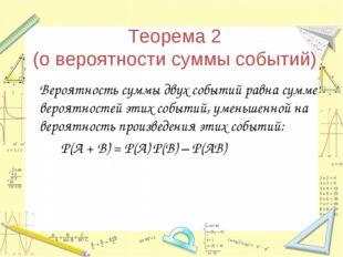 Теорема 2 (о вероятности суммы событий) Вероятность суммы двух событий равна