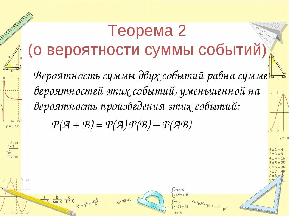 Теорема 2 (о вероятности суммы событий) Вероятность суммы двух событий равна...
