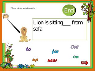 Lion is sitting___ from sofa Choose the correct alternative 10 9 8 7 6 5 4 3