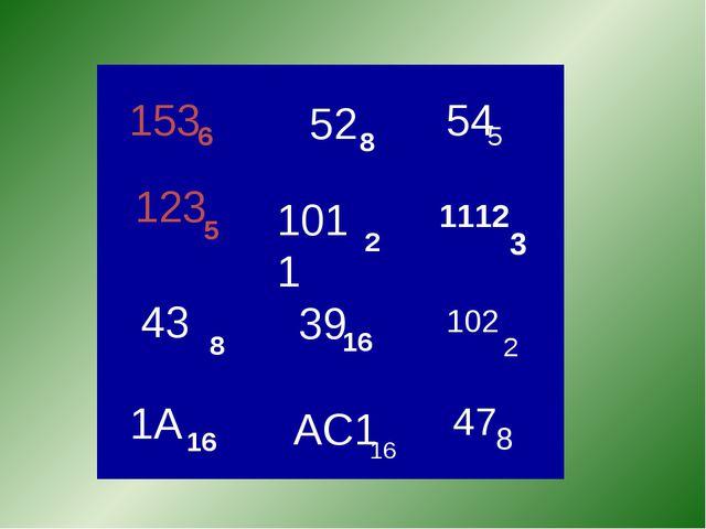 52 8 153 6 123 5 43 8 1A 16 2 1011 39 16 AC1 16 54 5 47 8 102 2 1112 3