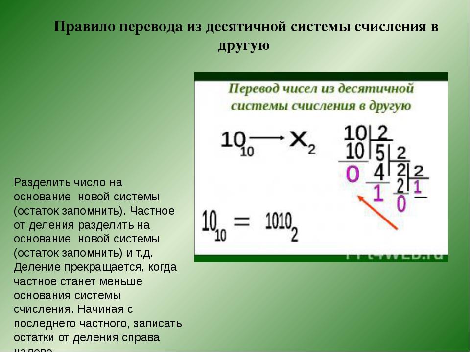 Правило перевода из десятичной системы счисления в другую Разделить число на...