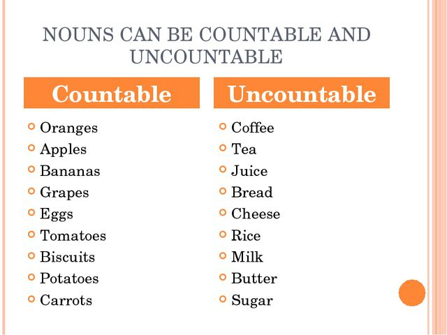 NOUNS CAN BE COUNTABLE AND UNCOUNTABLE Oranges Apples Bananas Grapes Eggs Tom...