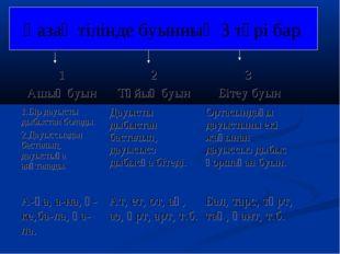 Қазақ тілінде буынның 3 түрі бар: