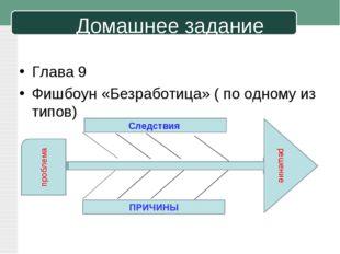 Домашнее задание Глава 9 Фишбоун «Безработица» ( по одному из типов) проблема