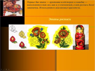 Этапы росписи Первые два этапа — грунтовка клейстером и наводка — выполняются
