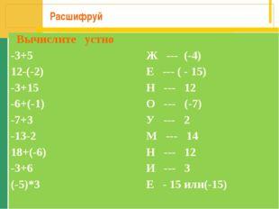 Расшифруй Вычислите устно -3+5Ж --- (-4) 12-(-2)Е --- ( - 15) -3+15Н ---