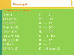 Расшифруй Вычислите устно -3+5=2У --- 2 12-(-2)=14М --- 14 -3+15=12Н ---