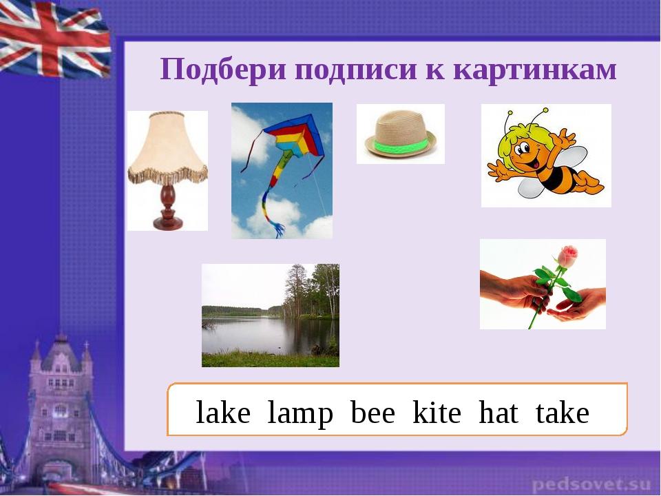 Подбери подписи к картинкам lake lamp bee kite hat take