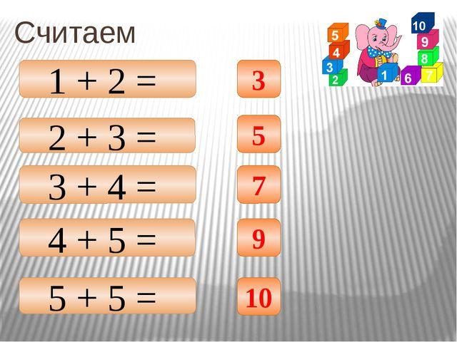 Считаем 2 + 3 = 3 + 4 = 4 + 5 = 5 + 5 = 1 + 2 = 3 5 7 9 10