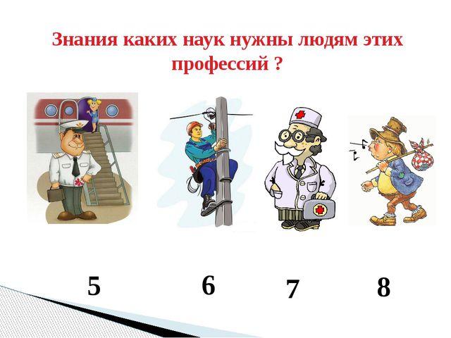 Знания каких наук нужны людям этих профессий ? 5 6 7 8