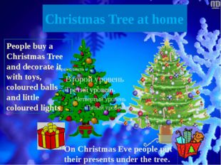 Christmas Tree at home People buy a Christmas Tree and decorate it with toys,