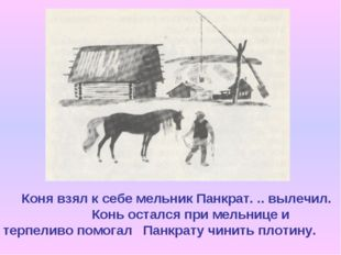 Коня взял к себе мельник Панкрат. .. вылечил. Конь остался при мельнице и те