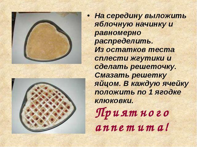 На середину выложить яблочную начинку и равномерно распределить. Из остатков...
