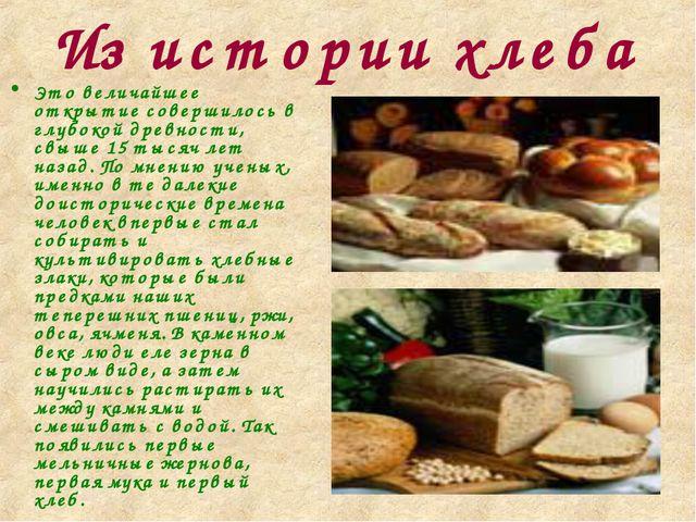 Из истории хлеба Это величайшее открытие совершилось в глубокой древности, св...