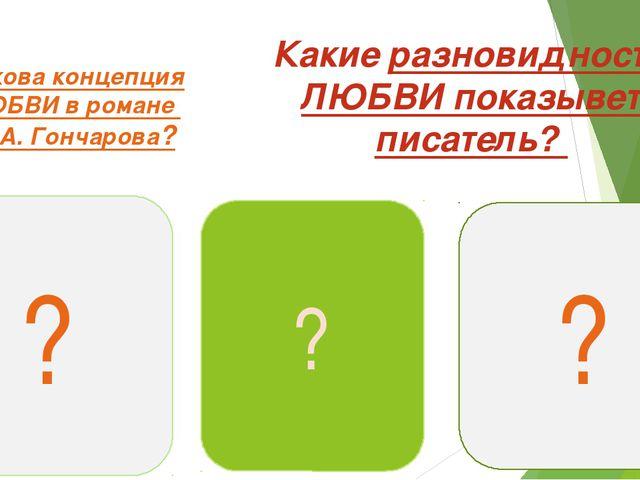 Какова концепция ЛЮБВИ в романе И. А. Гончарова? Какие разновидности ЛЮБВИ по...