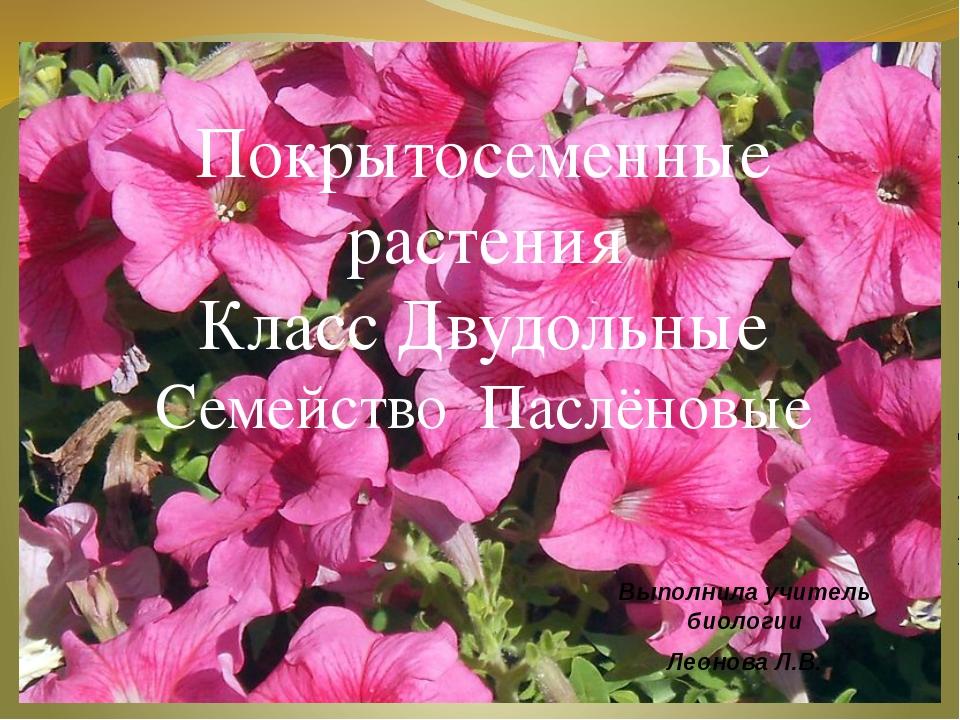 Покрытосеменные растения Класс Двудольные Семейство Паслёновые Выполнила учи...