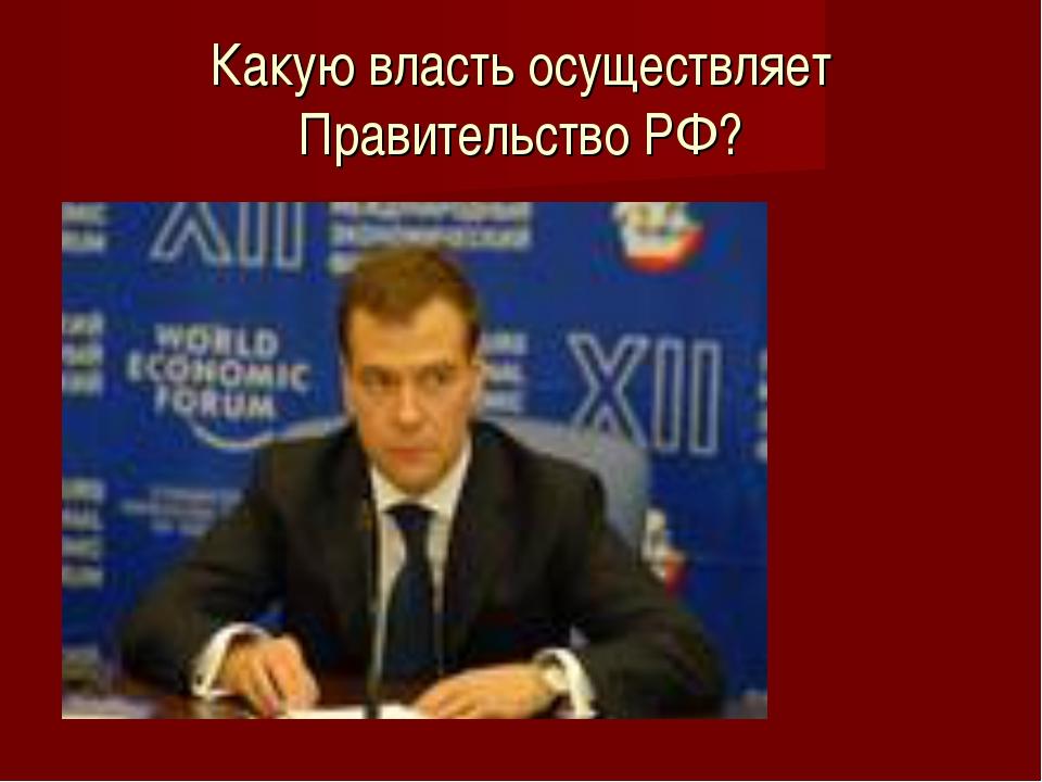 Какую власть осуществляет Правительство РФ?