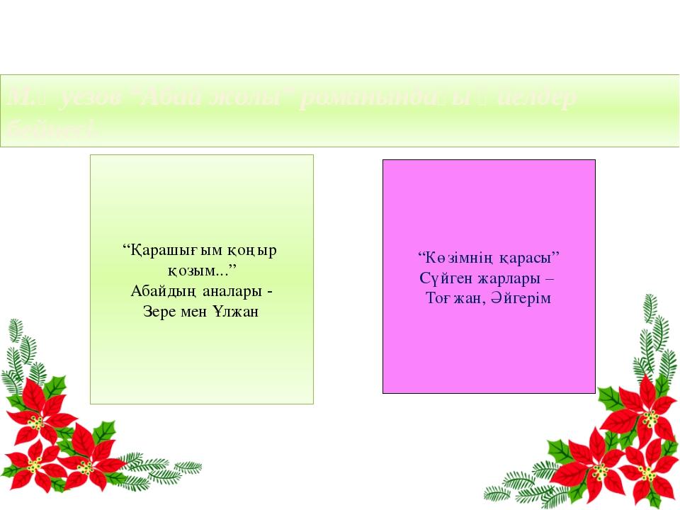 """М.Әуезов """"Абай жолы"""" романындағы әйелдер бейнесі. """"Көзімнің қарасы"""" Сүйген ж..."""