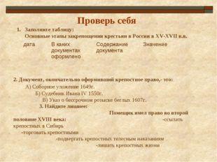 Проверь себя Заполните таблицу: Основные этапы закрепощения крестьян в России