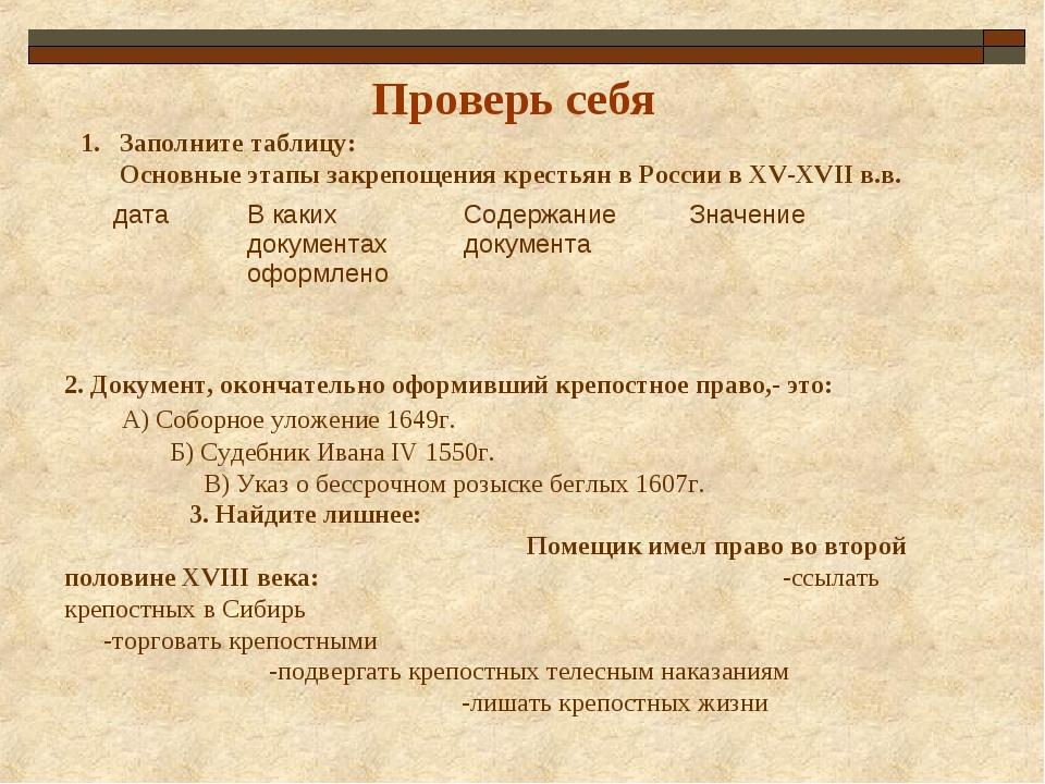 Проверь себя Заполните таблицу: Основные этапы закрепощения крестьян в России...
