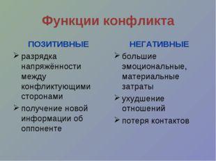 Функции конфликта ПОЗИТИВНЫЕ разрядка напряжённости между конфликтующими стор