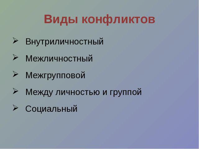 Виды конфликтов Внутриличностный Межличностный Межгрупповой Между личностью и...