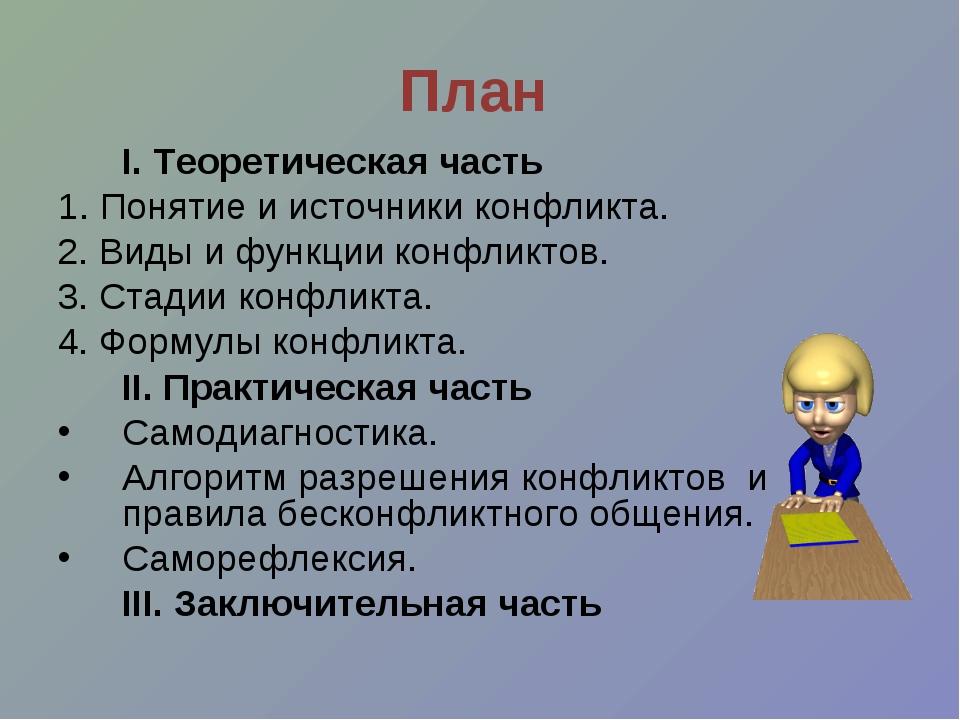 План I. Теоретическая часть 1. Понятие и источники конфликта. 2. Виды и функ...