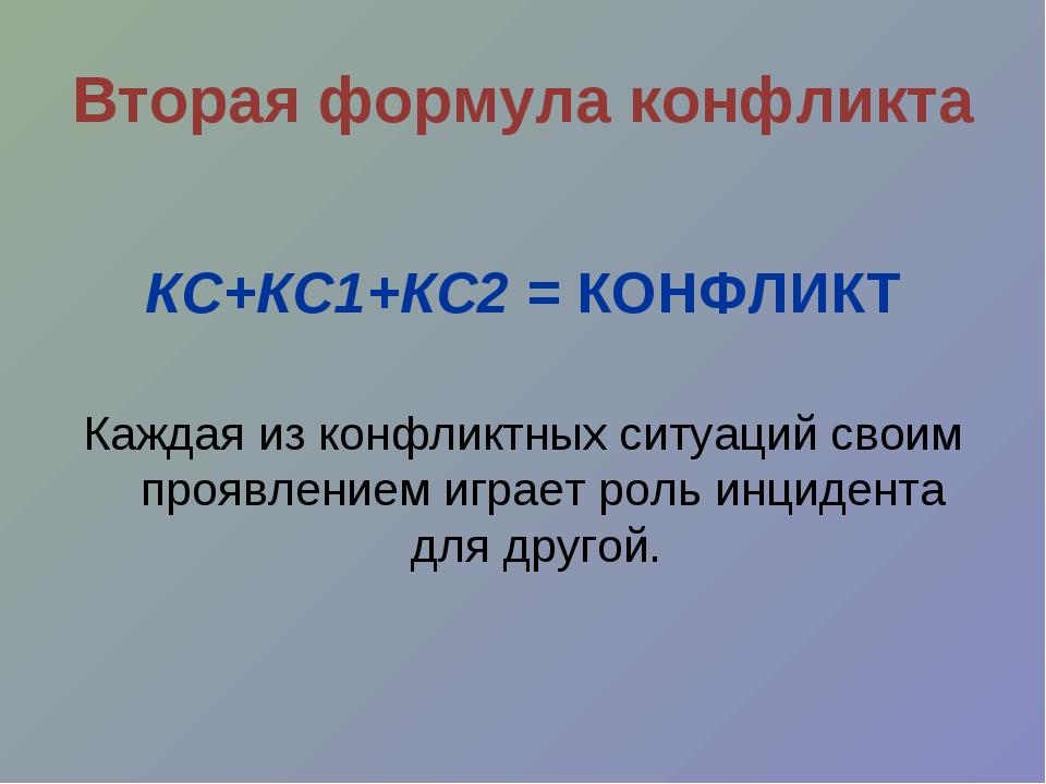 КС+КС1+КС2 = КОНФЛИКТ Каждая из конфликтных ситуаций своим проявлением играе...