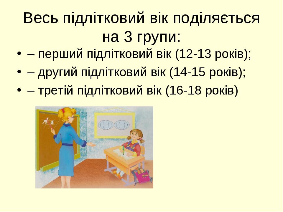 Весь підлітковий вік поділяється на 3 групи: – перший підлітковий вік (12-13...