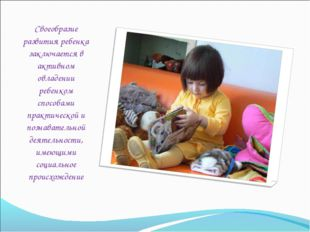 Своеобразие развития ребенка заключается в активном овладении ребенком способ