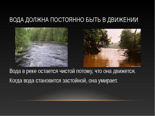 ВОДА ДОЛЖНА ПОСТОЯННО БЫТЬ В ДВИЖЕНИИ Вода в реке остается чистой потому, что...