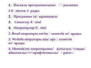 Паскаль программасының құрылымы 3 бөліктен тұрады: Программа тақырыпшасы Сипа