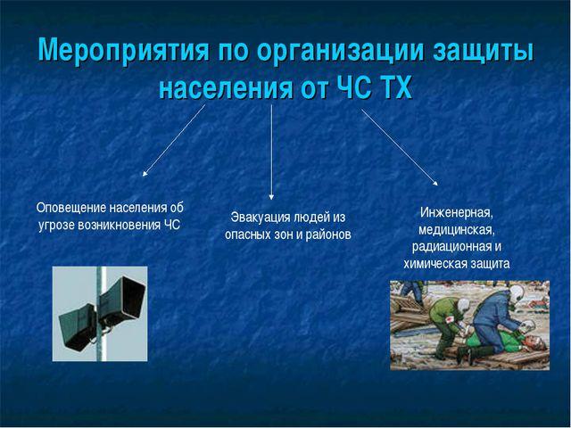 Мероприятия по организации защиты населения от ЧС ТХ Оповещение населения об...