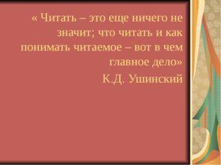 « Читать – это еще ничего не значит; что читать и как понимать читаемое – вот