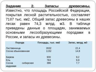 Задание 2. Запасы древесины. Известно, что площадь Российской Федерации, покр