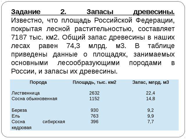 Задание 2. Запасы древесины. Известно, что площадь Российской Федерации, покр...