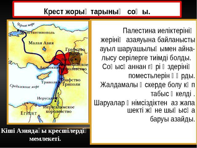 Крест жорықтарының соңы. Палестина иеліктерінің жерінің азаяуына байланысты а...