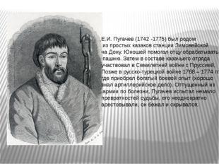 Е.И. Пугачев (1742 -1775) был родом из простых казаков станции Зимовейской на
