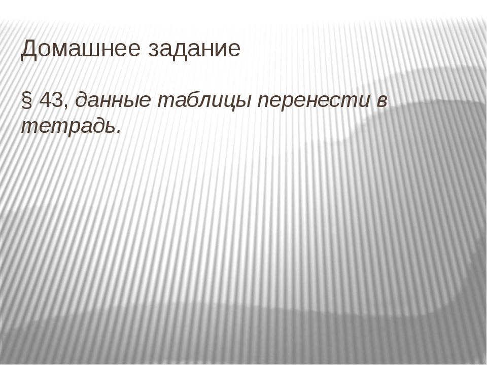 Домашнее задание § 43, данные таблицы перенести в тетрадь.