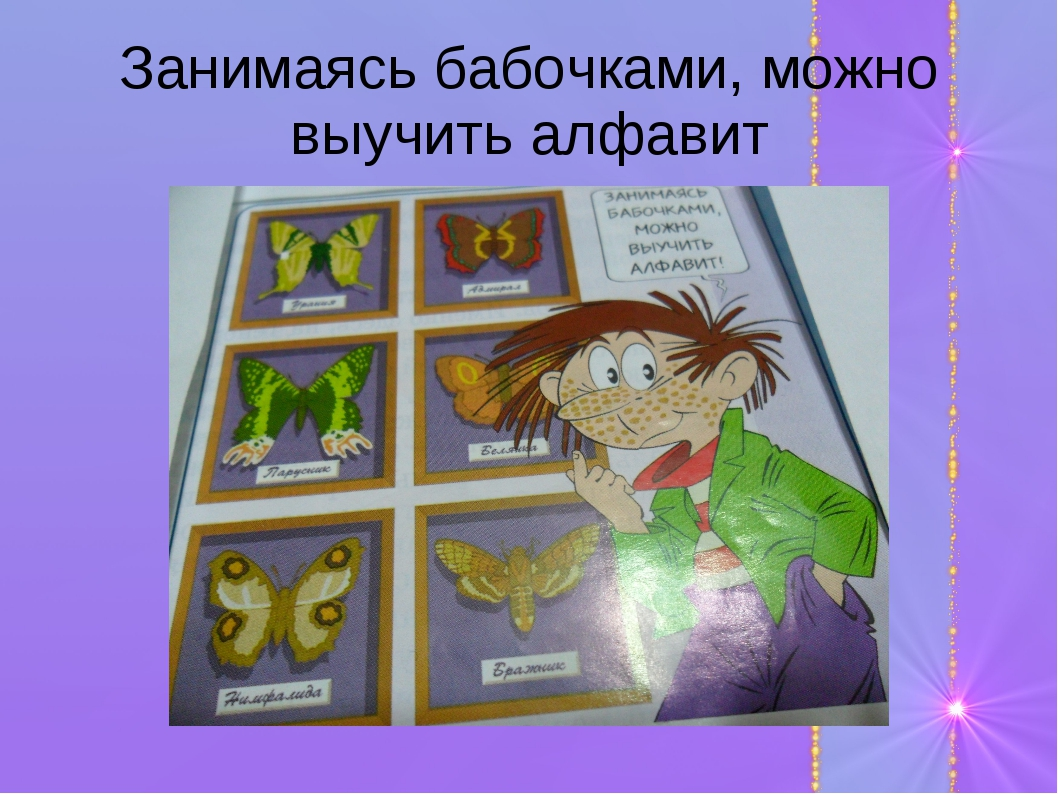 Занимаясь бабочками, можно выучить алфавит