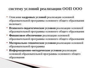 систему условий реализации ООП ООО Описание кадровых условий реализации основ