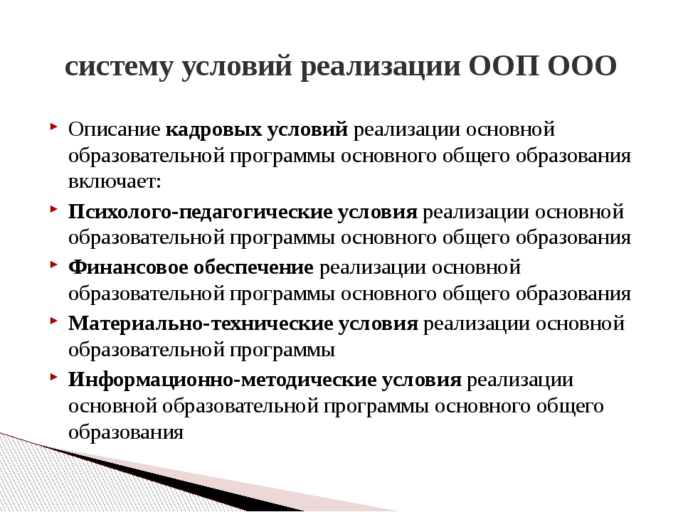 систему условий реализации ООП ООО Описание кадровых условий реализации основ...