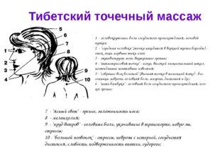Тибетский точечный массаж 1 - головокружение, боли сосудистого происхождения,