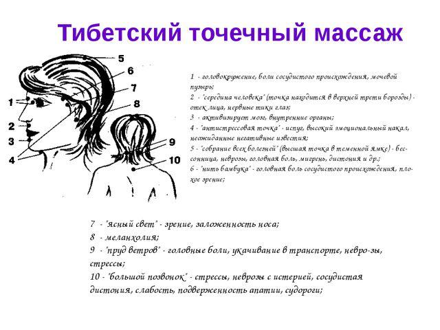 Тибетский точечный массаж 1 - головокружение, боли сосудистого происхождения,...