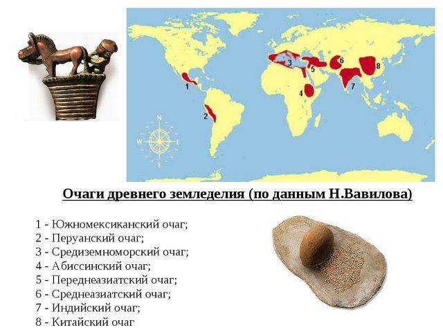 Очаги древнего земледелия (по данным Н.Вавилова) 1 - Южномексиканский очаг; 2...
