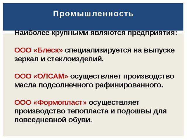 Промышленность Наиболее крупными являются предприятия: ООО «Блеск» специализи...
