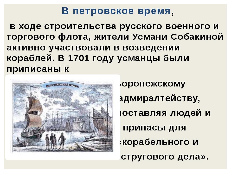В петровское время, в ходе строительства русского военного и торгового флота,...