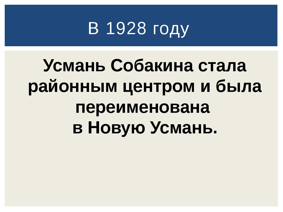 В 1928 году Усмань Собакина стала районным центром и была переименована в Но...