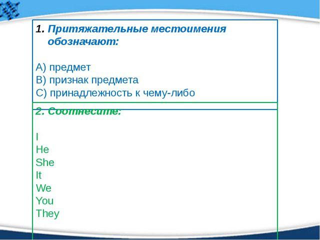 4. Выберите правильный перевод: Моя книга - … А) my book B) her book С) his b...